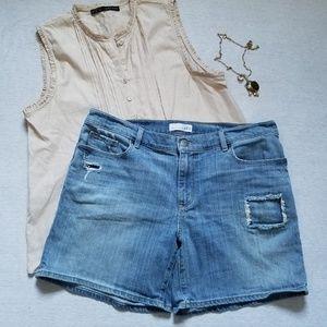 LOFT distressed jean shorts blue 12 31